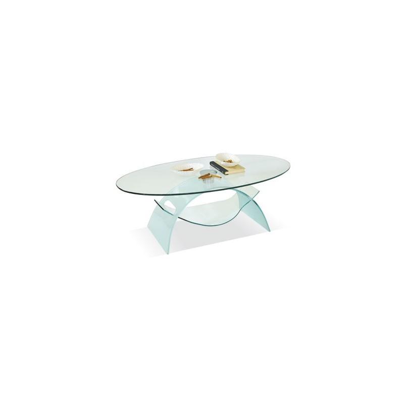 Tavolino da Salotto in Vetro trasparente Ovale cristallo temperato ...