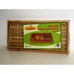 tagliere tagliapane in legno con raccogli briciole