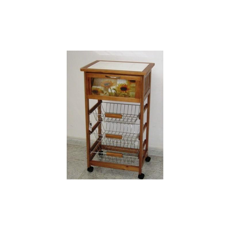 Carrello mobile portafrutta da cucina con cestelli inox piano piastrellato - Mobile portafrutta ...