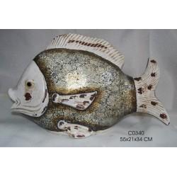 Scultura ceramica soprammobile pesce