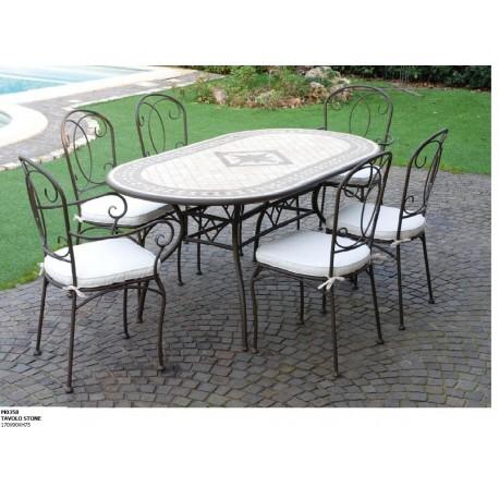 Tavolo cucina tavola pranzo tavolo da esterno arredo giardino arredo bar arredi - Tavoli da giardino in ferro battuto e mosaico ...