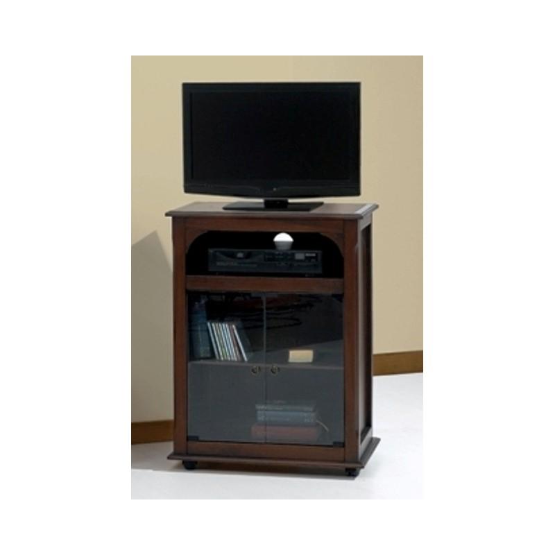 Porta tv mobile in legno massello con vano dvd decoder 2 ante vetro con ruote - Mobili porta tv in vetro ...