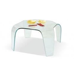 Tavolino Salotto in Vetro Curvo temperato trasparente quadrato