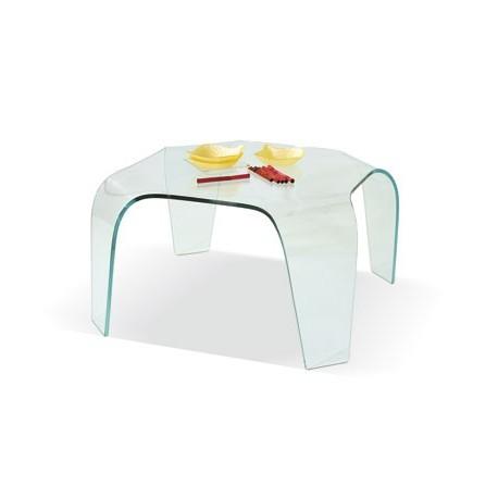 Tavolino Salotto in Vetro Curvo temperato trasparente quadrato ...