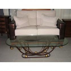 Tavolino Salotto in ferro battuto pieno divano classico