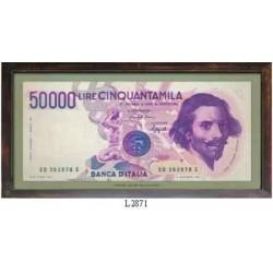 QUADRO COLLEZIONE BANCONOTE 50.000 LIRE