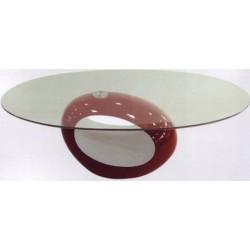 Tavolo Salotto design ovale piano vetro tavolino divano soggiorno colorato