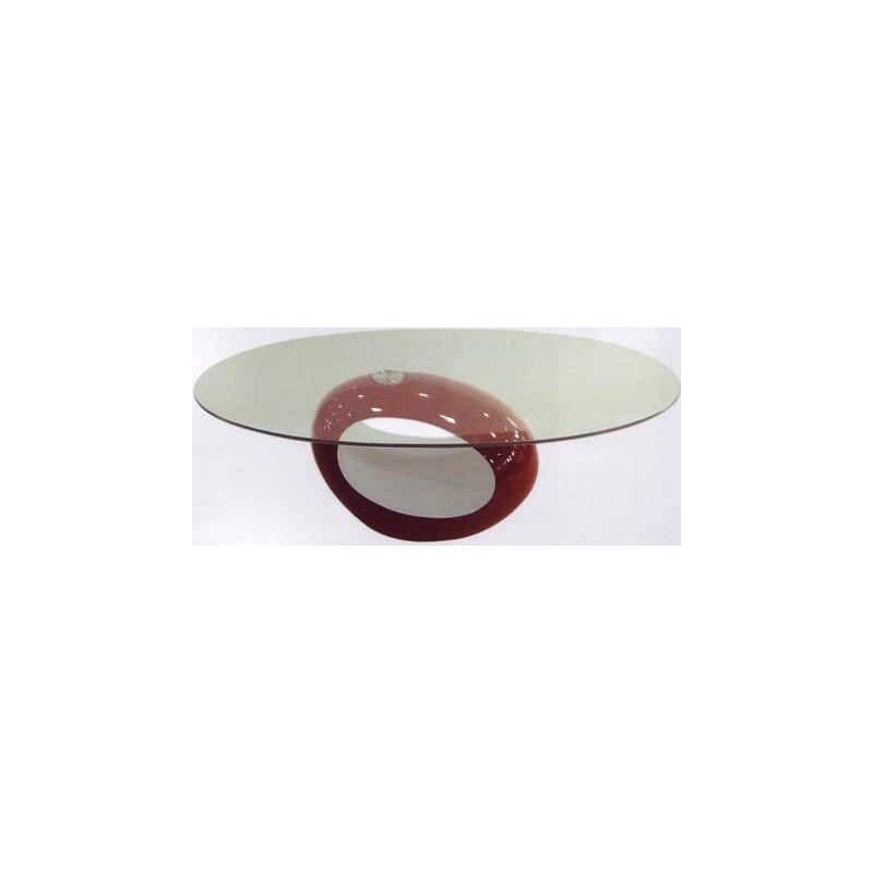 Tavolo Salotto Design Ovale Piano Vetro Tavolino Divano Soggiorno Colorato.  U003e
