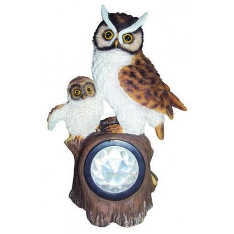 GUFO IN RESINA STATUA ANIMALE ARREDO GIARDINO LAMPADA AD ENERGIA SOLARE