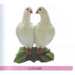 COLOMBI COPPIA ANIMALE STATUA PER GIARDINO COLOMBO SOPRAMMOBILI IN RESINA