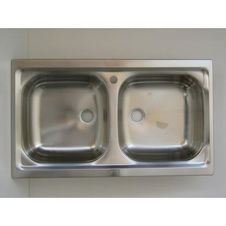 Lavello per cucina inox incasso 2 vascchette - IlBottegone.biz