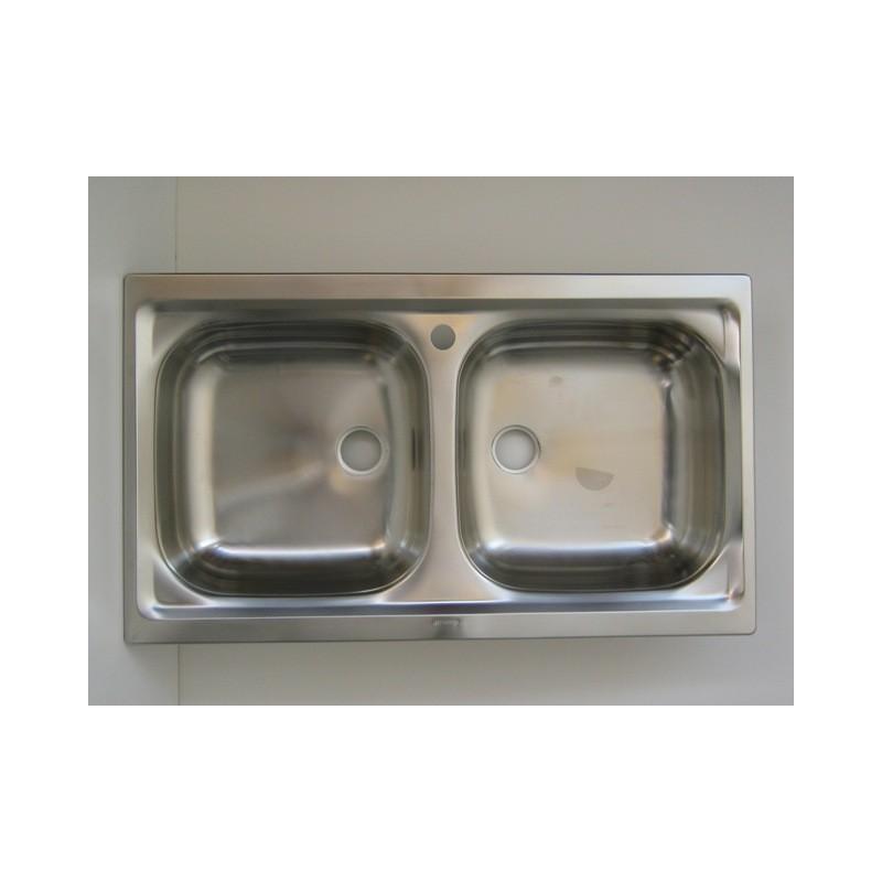 Lavello per cucina inox incasso 2 vascchette - Lavello cucina incasso ...
