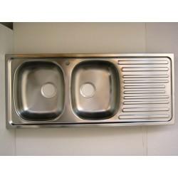 Lavello per cucina inox incasso 2 vasche gocciolatoio