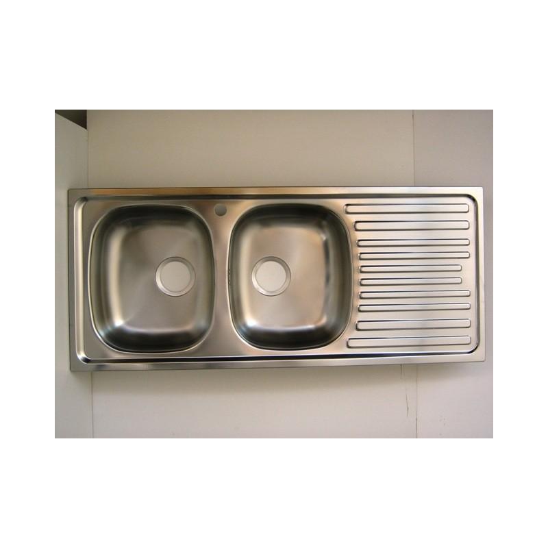Lavello per cucina inox incasso 2 vasche gocciolatoio - IlBottegone.biz