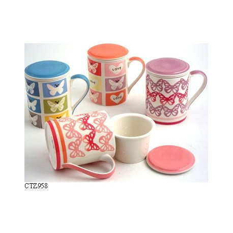 Tisana Tazza in ceramica con filtro decorata cuori Te