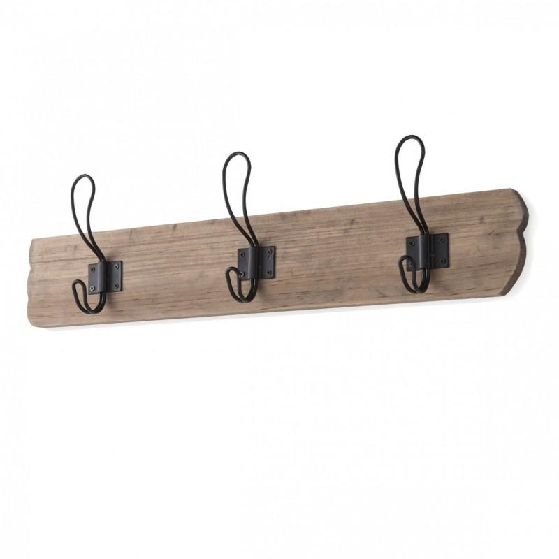 Attaccapanni a muro in legno massello 3 ganci nero - Appendini da muro ikea ...