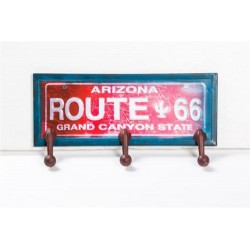 ATTACCAPANNI A PARETE IN LATTA 3 GANCI ROUTE 66 SERIGRAFIA ARIZONA