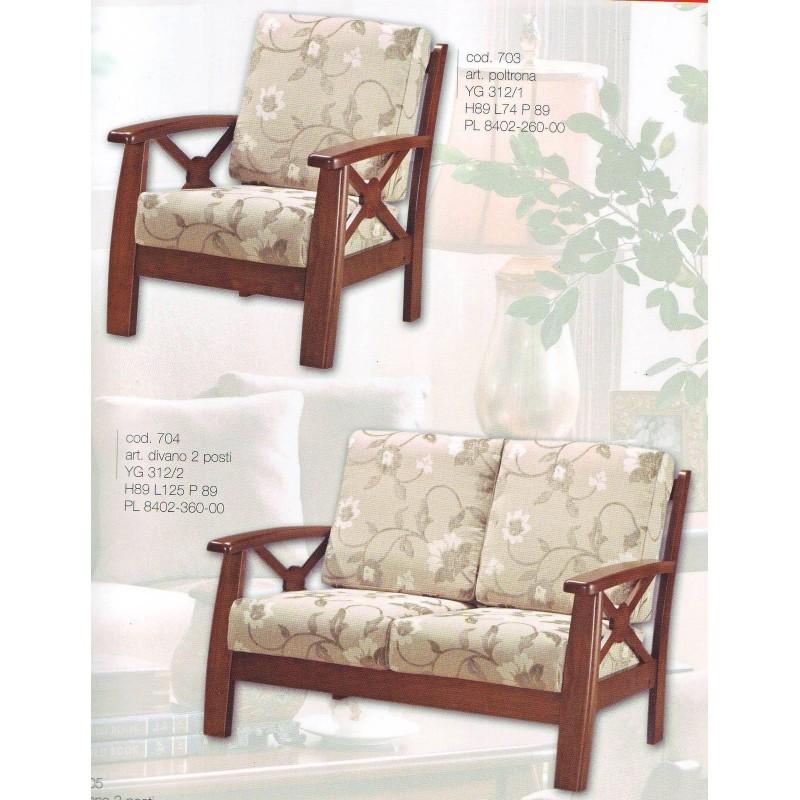 Divano 2 posti legno divanetto tessuto poltrona relax struttura in legno - Divano 2 posti relax ...