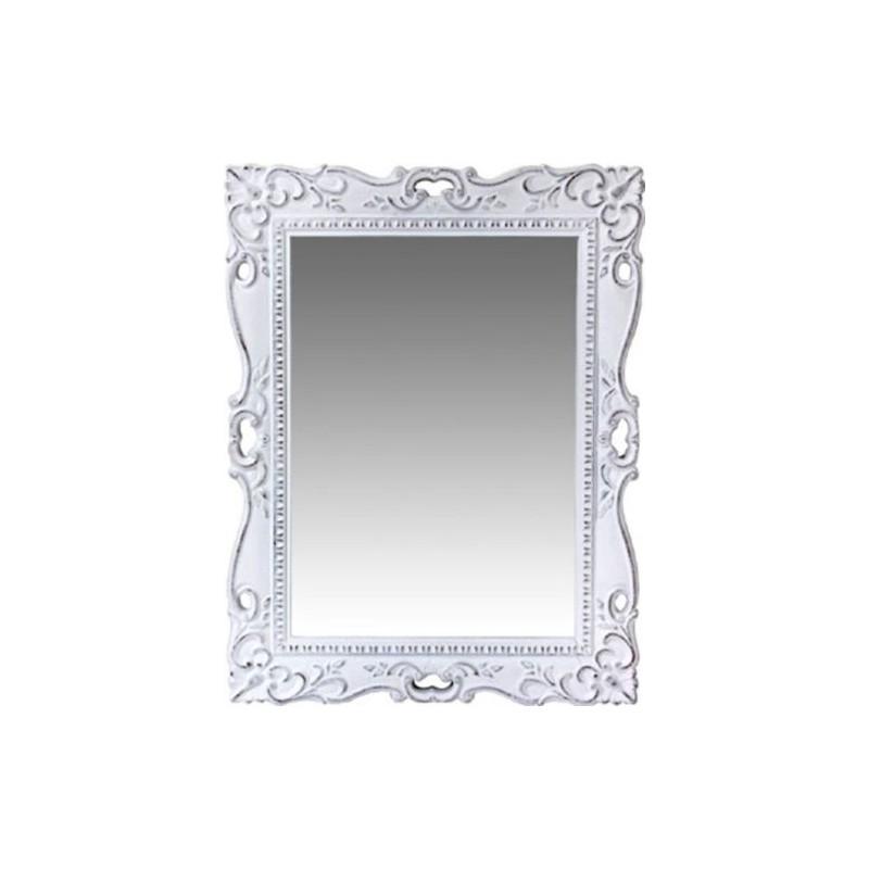 Specchio a muro da camera in legno laccato bianco anticato - Specchio anticato ...