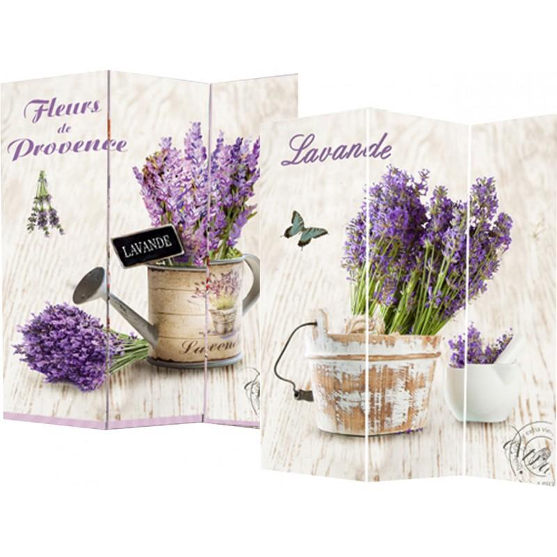 Separe 39 paravento divisorio in legno decorato fiori di for Fiori di lavanda