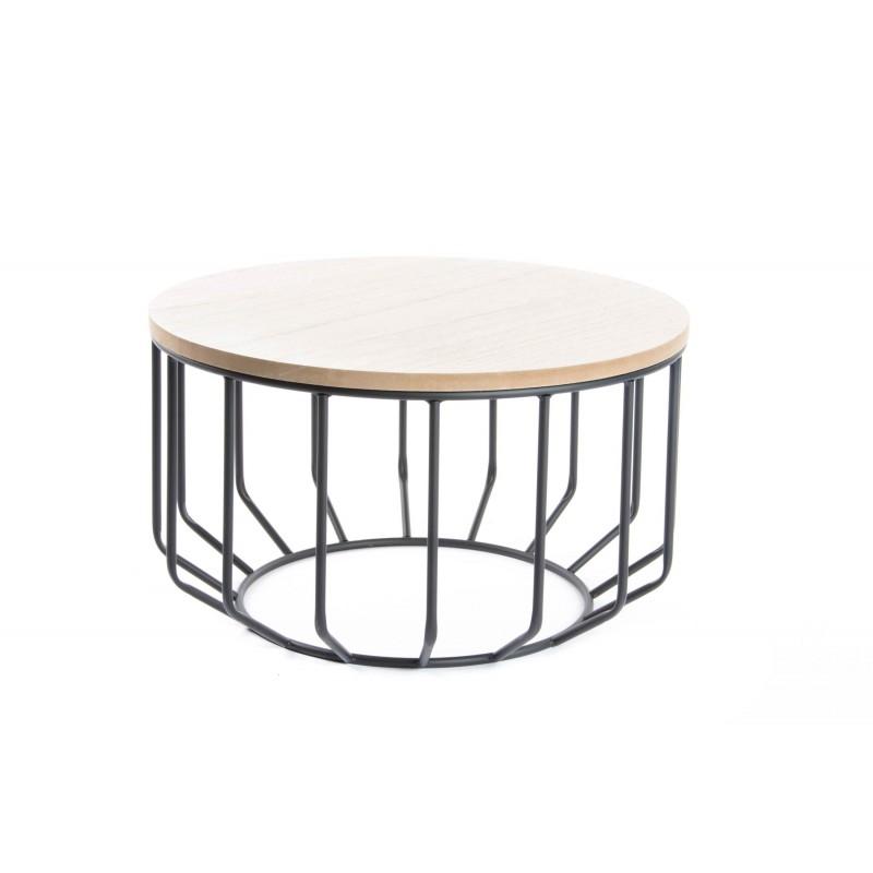 Tavolino tondo in ferro piano in legno tavolino da salotto - Tavolino salotto etnico ...