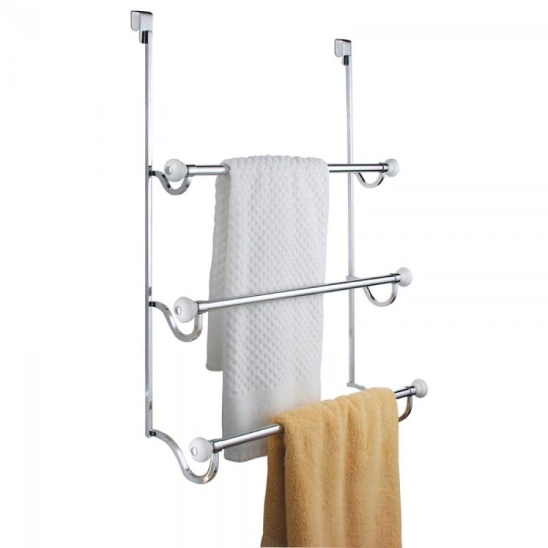 Porta asciugamani a muro inox per bagno doccia porta 3 posti - Accessori bagno porta asciugamani ...