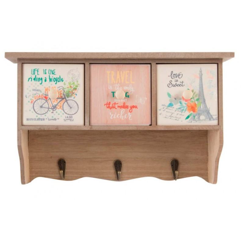 Cassettiera a muro in legno cucina con appendini e for Appendini cucina