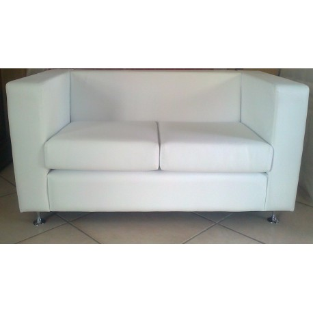 DIVANO 2 POSTI ECOPELLE POLTRONA DESIGN SOFA' DIVANETTO ATTESA MADE IN ITALY