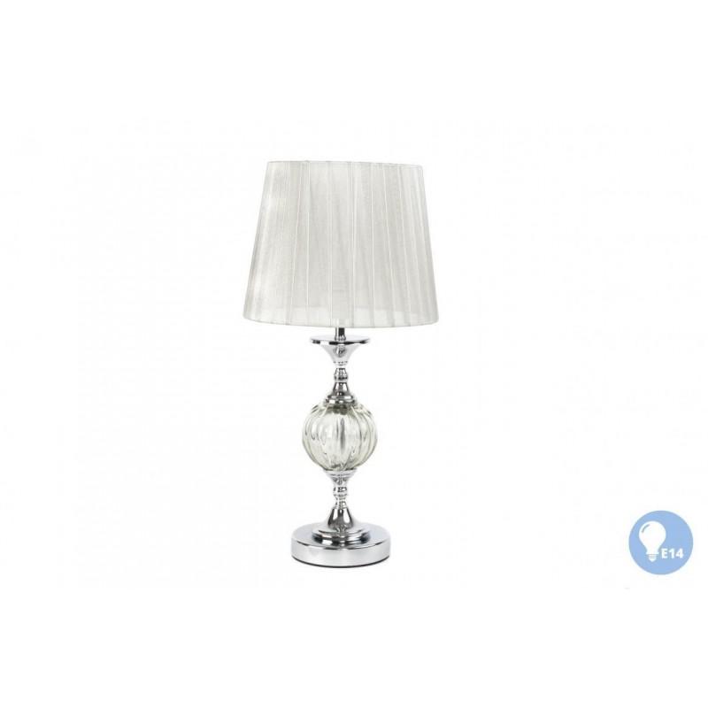 Lampada da tavolo comodino in metallo e vetro con paralume for Lampada salotto