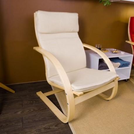 Poltrona relax poltroncina salotto in legno tessuto sedia for Sedia sdraio imbottita prezzi