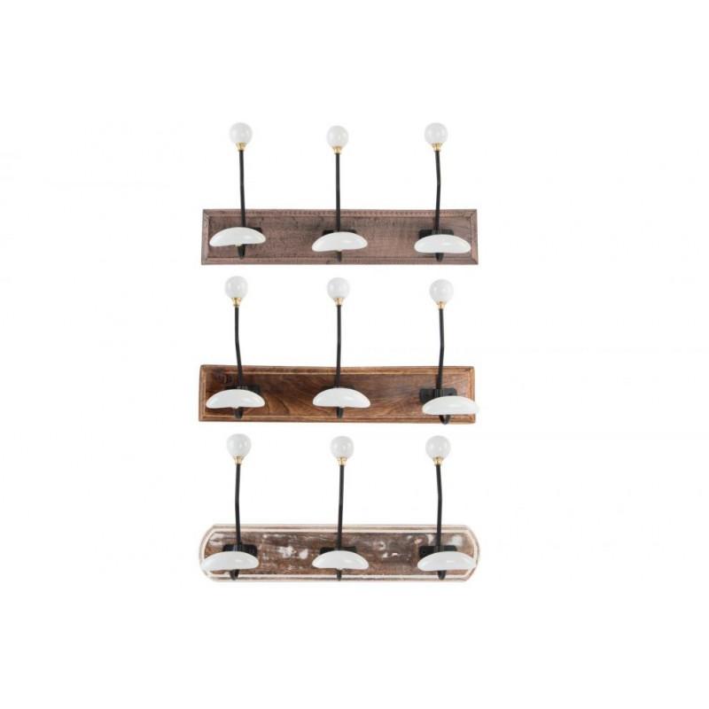 Attaccapanni in legno a muro con 3 ganci in metallo e - Attaccapanni bagno ...