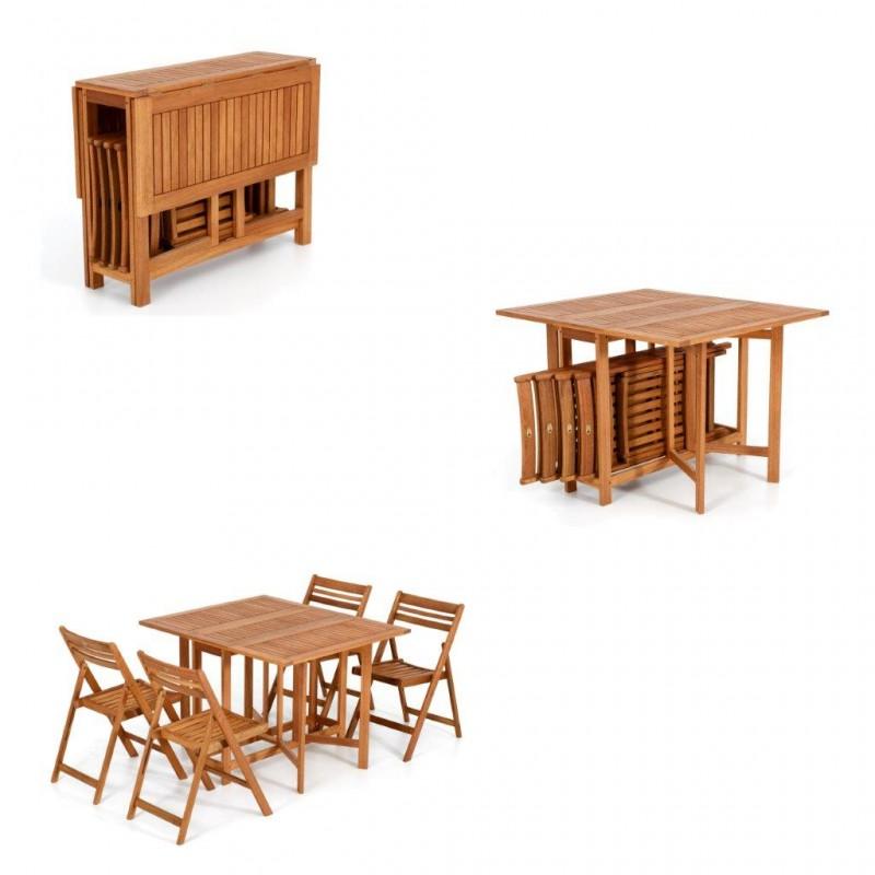 Tavolo legno giardino tavolo allungabile sedie pieghevole set giardino arredo for Tavolo in legno pieghevole
