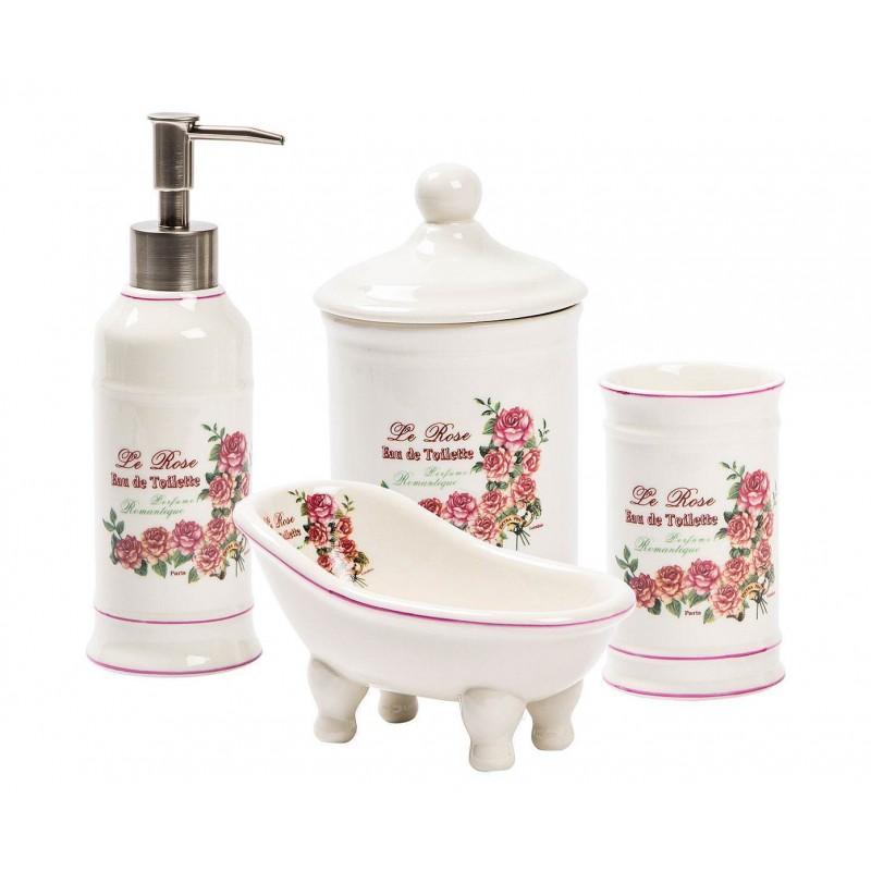 Accessori bagno in ceramica set bagno kit da appoggio portasapone arredo bagno - Set accessori bagno da appoggio ...