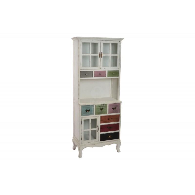 Credenza vetrina in legno invecchiato shabby per cucina sala con 9 cassetti - Vetrina per cucina ...