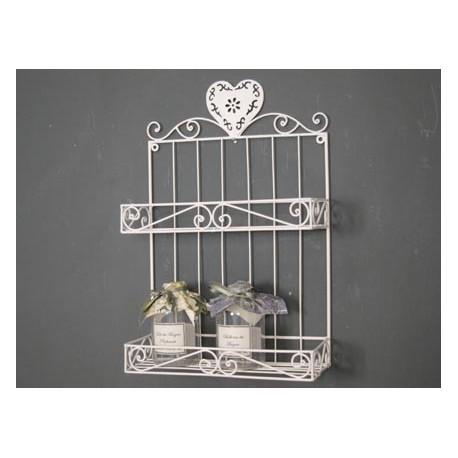 Mensola a muro in ferro libreria bianco 2 ripiani per cucina bagno - Mensole in ferro battuto per bagno ...