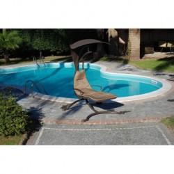 AMACA GIARDINO piscina in metallo con supporto e tettuccio amaca relax design