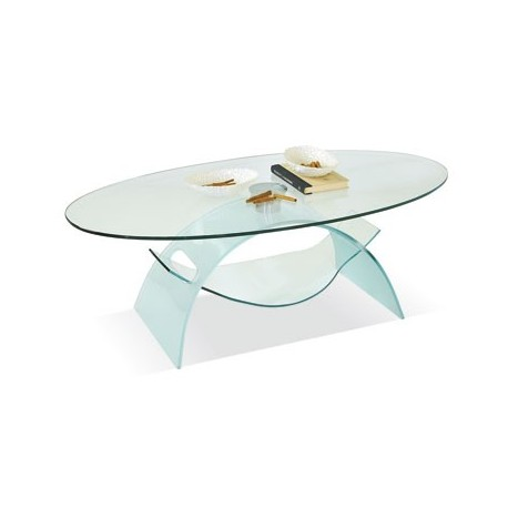 Tavolino da Salotto in Vetro trasparente Ovale cristallo temperato