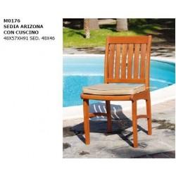 Sedia in legno massello con cuscino interni esterni