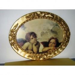 Quadro angeli Puttini capoletto cornice legno oro