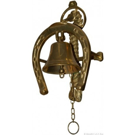 CAMPANA A MURO CON STAFFA SUPPORTO CAVALLO IN BRONZO