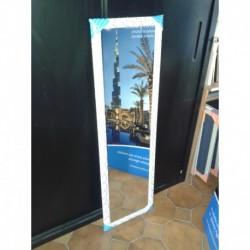 Specchio a Parete Design per Camera Bagno Ingresso Negozi Bianco-Argento