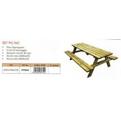 tavolo pic nic in legno con panche in legno massello impregnato