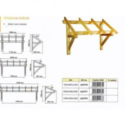 Tettoia Pensilina in legno massello per esterni Copertura Porte Entrata Finestre