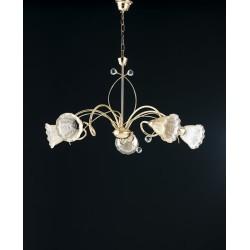LAMPADARIO a soffitto soggiorno salotto  DESIGN  5 luci COLOR ORO vetri ambra MADE ITALY