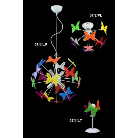 lampadario moderno cameretta salotto 4 luci farfalle
