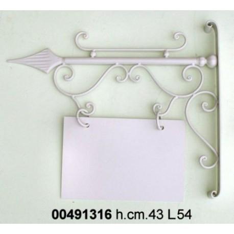insegna tabella a muro in ferro battuto con staffa, insegna a bandiera bifacciale