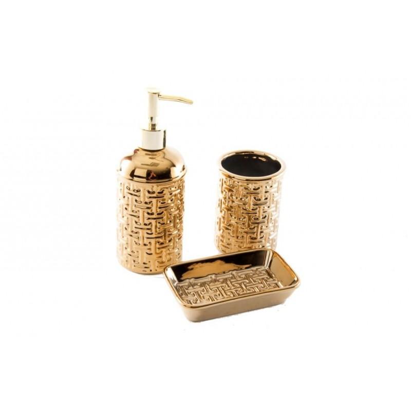 Accessori Bagno Color Oro.Bagno Set Lavabo Oro 3 Pezzi Arredo Design Dispenser Sapone Vasca Bicchiere