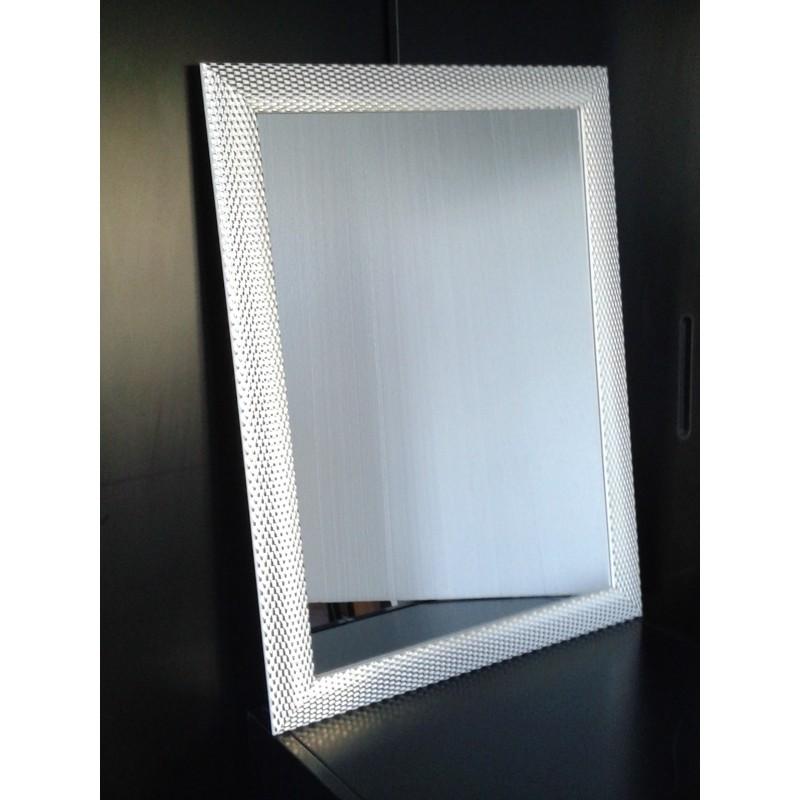 Specchio Bagno Cornice Argento.Specchio Como Ingresso Cornice Argento Lucido Fondo Bianco Vetro