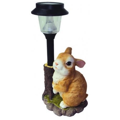 LAMPADA AD ENERGIA SOLARE CONIGLIO IN RESINA STATUA ANIMALE ARREDO GIARDINO