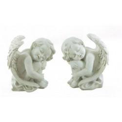 ANGELI CON ALI DUE MODELLI IN RESINA SCULTURA SOPRAMMOBILE REGALO PRESEPE NATALE
